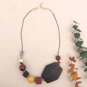 Handmade Necklace yellow burgundy